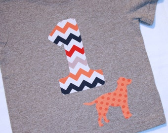 Boys First Birthday Shirt, Chevron Number 1 Shirt, Dog Birthday Shirt - 12 month short sleeve heather gray, orange navy red chevron