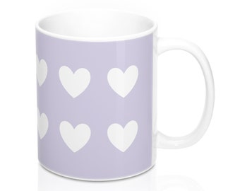 Mug - Hearts, Light Violet and White