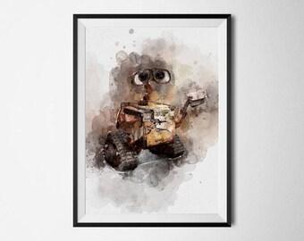 WALL-E Print Wall-e Poster Watercolor printable wall art Nursery decor Kids room prints Wall-e Painting Pixar Disney Gifts Disney Prints