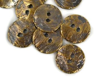 16mm Round Button - Antique Brass - Mykonos Beads Cornflake Button