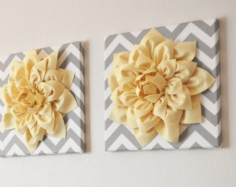 """TWO Wall Flowers -Light Yellow Dahlia on Gray and White Chevron 12 x12"""" Canvas Wall Art- 3D Felt Flower"""