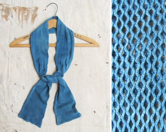 indigo overdyed c. 1970s US Army issue cotton net scarf (2 AVAILABLE)