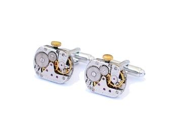 Cuff Links & Tie Clips-Cuff Links-Steampunk cufflinks-Steampunk jewelry-Mens cufflinks-Wedding cufflinks-Victorian jewelry-Cufflinks-Gift