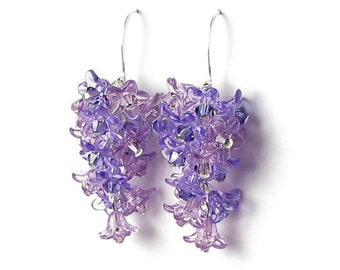 Spring Lilac Flower Cluster Swarovski Crystal Silver Earrings Cascading Purple Floral Spring Jewelry Lavender Trend Mother's Day Gifts Women