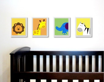 Jungle Safari Animal Prints. Set of four 8x10 Printable Nursery Art PDF. Baby Wall decor. Includes lion, elephant, zebra and giraffe.