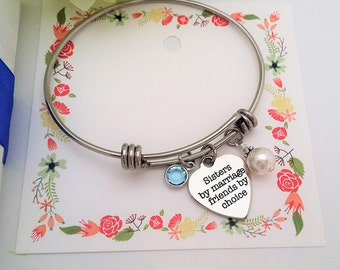 SISTER OF The GROOM Gift, Sister of the Groom Bracelet, Sister in Law bracelet, Sisters by Marriage Friends by Choice Adjustable Bracelet