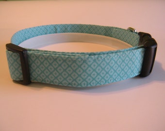 Handmade Cotton Dog Collar - Aqua Geometric Pattern