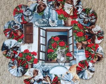 "Cat and Red Geraniums 12"" Yo Yo Doily"