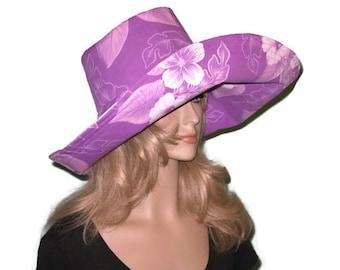 Lavender Tropical Floral Print Wide Brim Sun Hat