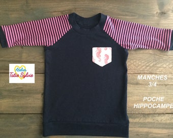 Scalable bamboo Navy/pink 3/4 sleeve sweater