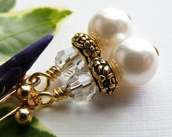 White Swarovski Pearl and Clear Crystal Earrings on Leverbacks. TierraCast. Classic. Elegant. Antique Gold. Bridal.