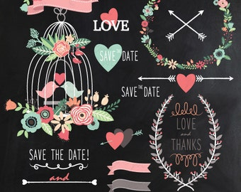 "Chalkboard Wedding Clipart ""CHALKBOARD WEDDING"" clip art, Laurels Clip Art, Floral Frames, Wreath, Wedding invitaion Instant Download Wd032."