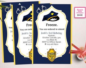PERSONALIZED POLICE INVITATION Printable Police Birthday Invitation, Police Birthday Invitation, Police Birthday Printable