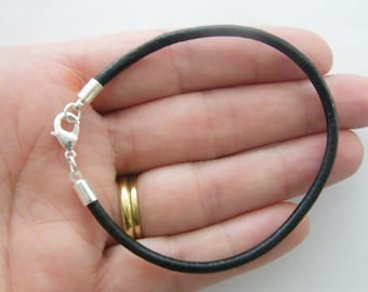 BULK 4 Black leather bangle bracelet 22cm NB24-57009