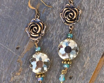 Champagne and Aqua Crystal Earrings