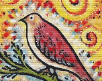 Bird cross stitch by Lindy Gaskill ' Shimmer & Shine' cross stitch kit, Whimsical Cross Stitch, Colourful Art, GeckoRouge Cross Stitch,