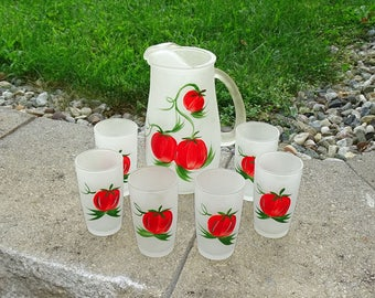 Mid Century Hazel Atlas Tomato Juice Pitcher Set 6 Frosted Glasses Hand Painted