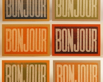 4 BONJOUR CARDS French print Paris decor Hello Cards Letterpress print Home decor Bonjour print Typographic print Hand printed Kitchen art
