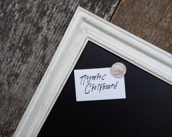 """WEDDING CHALKBOARD: LARGE Framed Magnetic Chalkboard Distressed White Vintage Style Frame - 23 x 35"""" Large Magnetic Chalkboard"""