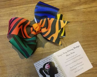 Rainbow zebra boutique hair bow, hair clip