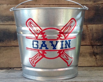 Baseball Themed Easter Bucket, Easter Pail, Personalized, Featuring Child's Name