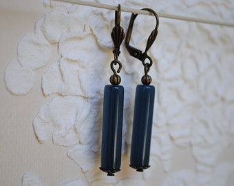 Blue duck tube earrings