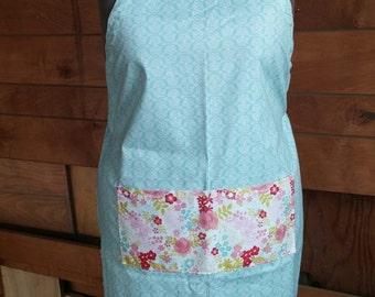 Floral apron, adjustable up to plus size