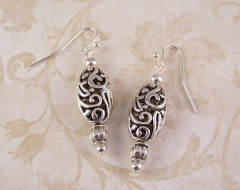 Silver Earrings, Filigree Earrings, Victoran Earrings, Simple Casual Everyday Earrings, Silver Jewelry, Birthday Gifts for Her Women