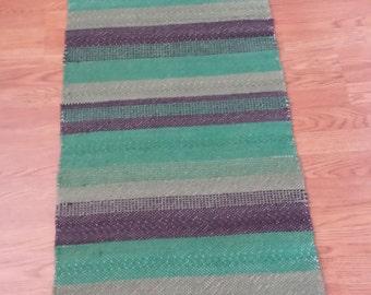 Handwoven & Felted Wool Tapestry Rug Runner Green Gray
