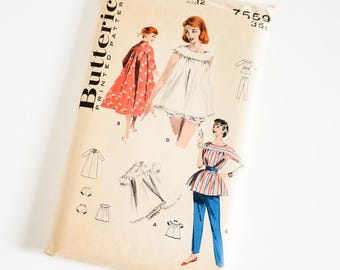 Vintage 1950s Womens Size 12 Nightie, Brunch Coat, Lounging Outfit Butterick Sewing Pattern 7559 Complete / b30 w24