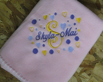 Personalized Baby Blanket boy or girl newborn infant gift shower script-close