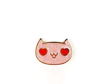 Heart Eyes Cat • Glitter Hard Enamel Lapel Pin