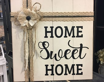 HOME SWEET HOME Embellished rustic Wood sign with vinyl lettering, wall hanging, wedding gift, gift for her, wall decor, housewarming gift