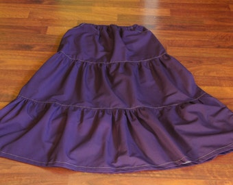 READY TO SHIP! Purple Tiered Skirt: Women's Long Tiered Twill Skirt size 4