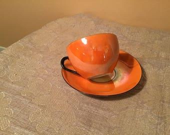 Rudolf Wachter Bavaria Orange Lustreware Coffee Cup and Saucer