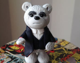 Peter Capaldi Doctor style Comic Con Bear - Polymer clay bear figure dressed as Peter Capaldi