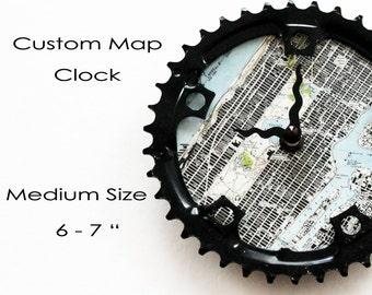 Custom Map Bicycle Clock -  Medium size  |  Topographic Map Bike Gear Clock