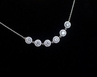 Bridal Necklace, Cubic Zirconia Bridal Necklace ,Bridal Jewelry, Wedding Jewelry, Cubic Zirconia Bridal Jewelry, CZ Bridesmaids Necklace