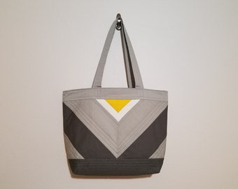 Tote Bag / Upcycled / Gray / Yellow / White / Quilted