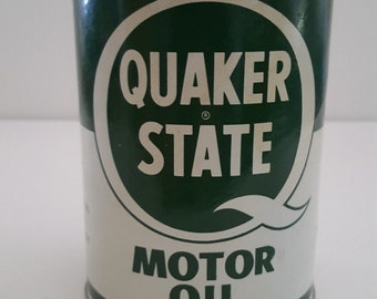 """Vintage 1970's or earlier full quart oil can Quaker State SAE 30 """"paper can"""" or cardboard can, no UPC barcode, petroleum, oiliana"""