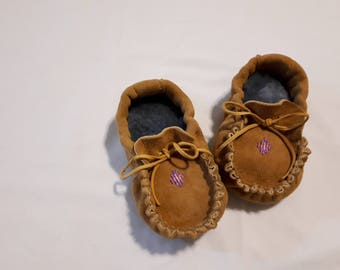 Beaded Leather Baby Moccasins
