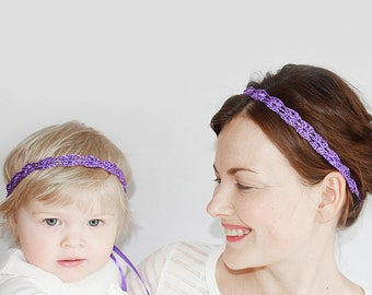 Matching Purple Headbands Mother and Daughter, Baby Headband Set, Mommy and Me Headpieces, Purple Tiaras, Mommy and Baby Matching Headbands