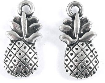 Double Sided Metal Fruit Charms-SILVER PINEAPPLE 9X19mm (10 Pieces)