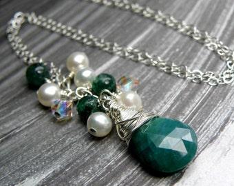 Emerald Necklace, Green Natural Stone, May Gemstone, Sterling Silver, Handmade Jewelry, Birthday, Birthstone Jewelry