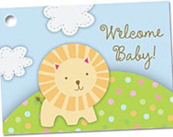Welcome Baby Gift Note Card, Lion Baby Shower Card, Baby & Expecting Note Card, Gift Card For Baby Shower, Baby Shower For Girl or Girl Card
