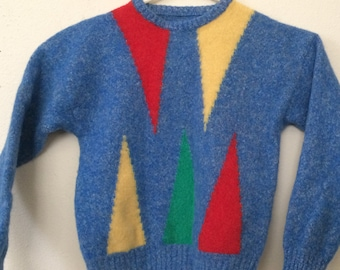 3T Vintage Sweater Abstract 1980s Geometric Blue Long Sleeve VGPOC