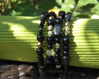 Black and Gold beaded, cuff bracelet