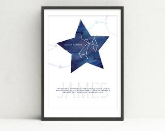 SAGITTARIUS - Zodiac Horoscope Custom Child Baby Nursery Room Art STAR