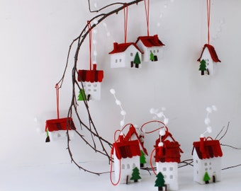 House Ornament Christmas decor tree Christmas Ornament  Miniature of ten white houses with trees, Ornaments hanging