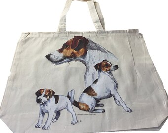 Jack Russell Dog  100% Cotton Tote Bag For Life